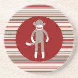 Cute Sock Monkey on Red Circle Red Brown Stripes Beverage Coaster