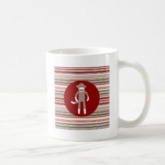 Cute Sock Monkey on Red Circle Red Brown Stripes Coffee Mug