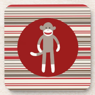 Cute Sock Monkey on Red Circle Red Brown Stripes Beverage Coasters