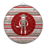 Cute Sock Monkey on Red Circle Red Brown Stripes Dartboard