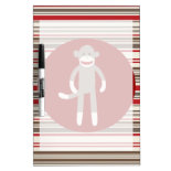 Cute Sock Monkey on Red Circle Red Brown Stripes Dry-Erase Board