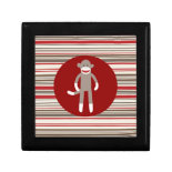 Cute Sock Monkey on Red Circle Red Brown Stripes Trinket Boxes
