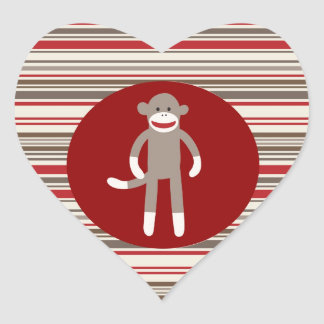 Cute Sock Monkey on Red Circle Red Brown Stripes Heart Sticker