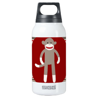 Cute Sock Monkey on Red Circle Red Brown Stripes Insulated Water Bottle
