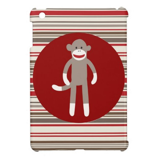 Cute Sock Monkey on Red Circle Red Brown Stripes iPad Mini Covers