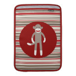 Cute Sock Monkey on Red Circle Red Brown Stripes MacBook Air Sleeves