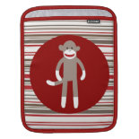 Cute Sock Monkey on Red Circle Red Brown Stripes iPad Sleeves