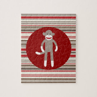 Cute Sock Monkey on Red Circle Red Brown Stripes Jigsaw Puzzle