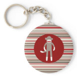 Cute Sock Monkey on Red Circle Red Brown Stripes Keychain