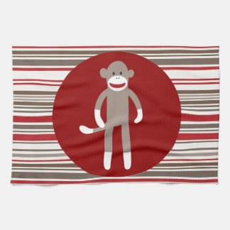 Cute Sock Monkey on Red Circle Red Brown Stripes Kitchen Towels