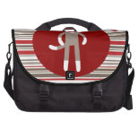 Cute Sock Monkey on Red Circle Red Brown Stripes Laptop Bags