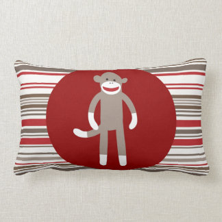 Cute Sock Monkey on Red Circle Red Brown Stripes Lumbar Pillow