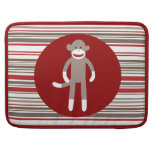 Cute Sock Monkey on Red Circle Red Brown Stripes MacBook Pro Sleeve