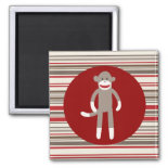 Cute Sock Monkey on Red Circle Red Brown Stripes Magnets