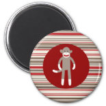 Cute Sock Monkey on Red Circle Red Brown Stripes Refrigerator Magnet