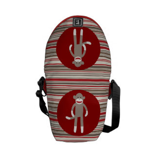 Cute Sock Monkey on Red Circle Red Brown Stripes Messenger Bag