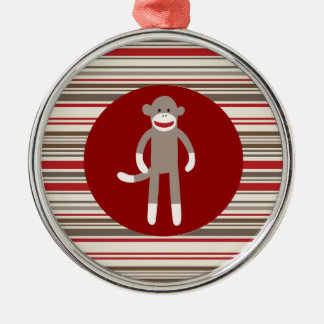 Cute Sock Monkey on Red Circle Red Brown Stripes Metal Ornament