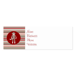 Cute Sock Monkey on Red Circle Red Brown Stripes Mini Business Card