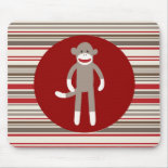 Cute Sock Monkey on Red Circle Red Brown Stripes Mouse Pads
