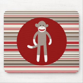 Cute Sock Monkey on Red Circle Red Brown Stripes Mouse Pad