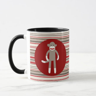 Cute Sock Monkey on Red Circle Red Brown Stripes Mug
