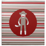 Cute Sock Monkey on Red Circle Red Brown Stripes Cloth Napkin