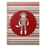 Cute Sock Monkey on Red Circle Red Brown Stripes Note Book