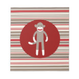 Cute Sock Monkey on Red Circle Red Brown Stripes Note Pads