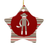 Cute Sock Monkey on Red Circle Red Brown Stripes Christmas Ornament