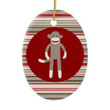 Cute Sock Monkey on Red Circle Red Brown Stripes Ornaments