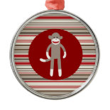 Cute Sock Monkey on Red Circle Red Brown Stripes Christmas Ornaments