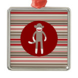 Cute Sock Monkey on Red Circle Red Brown Stripes Christmas Tree Ornament