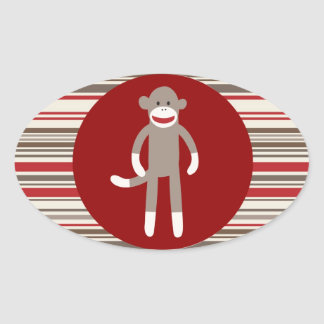 Cute Sock Monkey on Red Circle Red Brown Stripes Oval Sticker