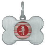 Cute Sock Monkey on Red Circle Red Brown Stripes Pet Name Tags