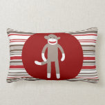 Cute Sock Monkey on Red Circle Red Brown Stripes Throw Pillows