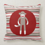 Cute Sock Monkey on Red Circle Red Brown Stripes Pillow