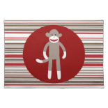Cute Sock Monkey on Red Circle Red Brown Stripes Place Mat