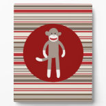 Cute Sock Monkey on Red Circle Red Brown Stripes Plaques