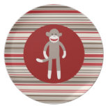 Cute Sock Monkey on Red Circle Red Brown Stripes Plate