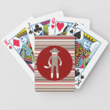 Cute Sock Monkey on Red Circle Red Brown Stripes Poker Deck