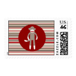 Cute Sock Monkey on Red Circle Red Brown Stripes Postage Stamp