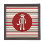 Cute Sock Monkey on Red Circle Red Brown Stripes Premium Trinket Boxes