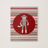 Cute Sock Monkey on Red Circle Red Brown Stripes Jigsaw Puzzles