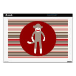 Cute Sock Monkey on Red Circle Red Brown Stripes Laptop Skins
