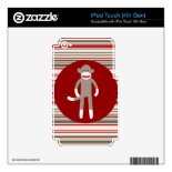 Cute Sock Monkey on Red Circle Red Brown Stripes Skin For iPod Touch 4G