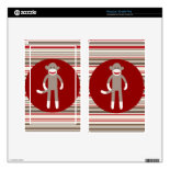 Cute Sock Monkey on Red Circle Red Brown Stripes Kindle Fire Decal