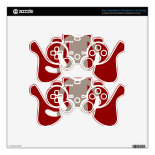 Cute Sock Monkey on Red Circle Red Brown Stripes PS3 Controller Decals
