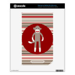 Cute Sock Monkey on Red Circle Red Brown Stripes NOOK Color Decals