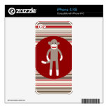 Cute Sock Monkey on Red Circle Red Brown Stripes Skins For The iPhone 4S