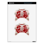 Cute Sock Monkey on Red Circle Red Brown Stripes Xbox 360 Controller Skin